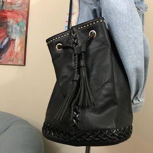 Street Level Fringe Bucket Bag Studded w tassel